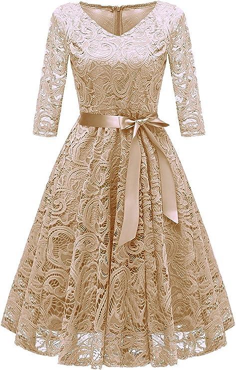 TALLA M. RAISEVERN Vestido de Encaje de Mujer Una línea 3/4 Fiesta de Noche de Manga Larga Vestido de Dama de Honor de la Boda Cóctel Ocasión Vestidos de Midi de oscilación con Cinta de la Cinta Apricot