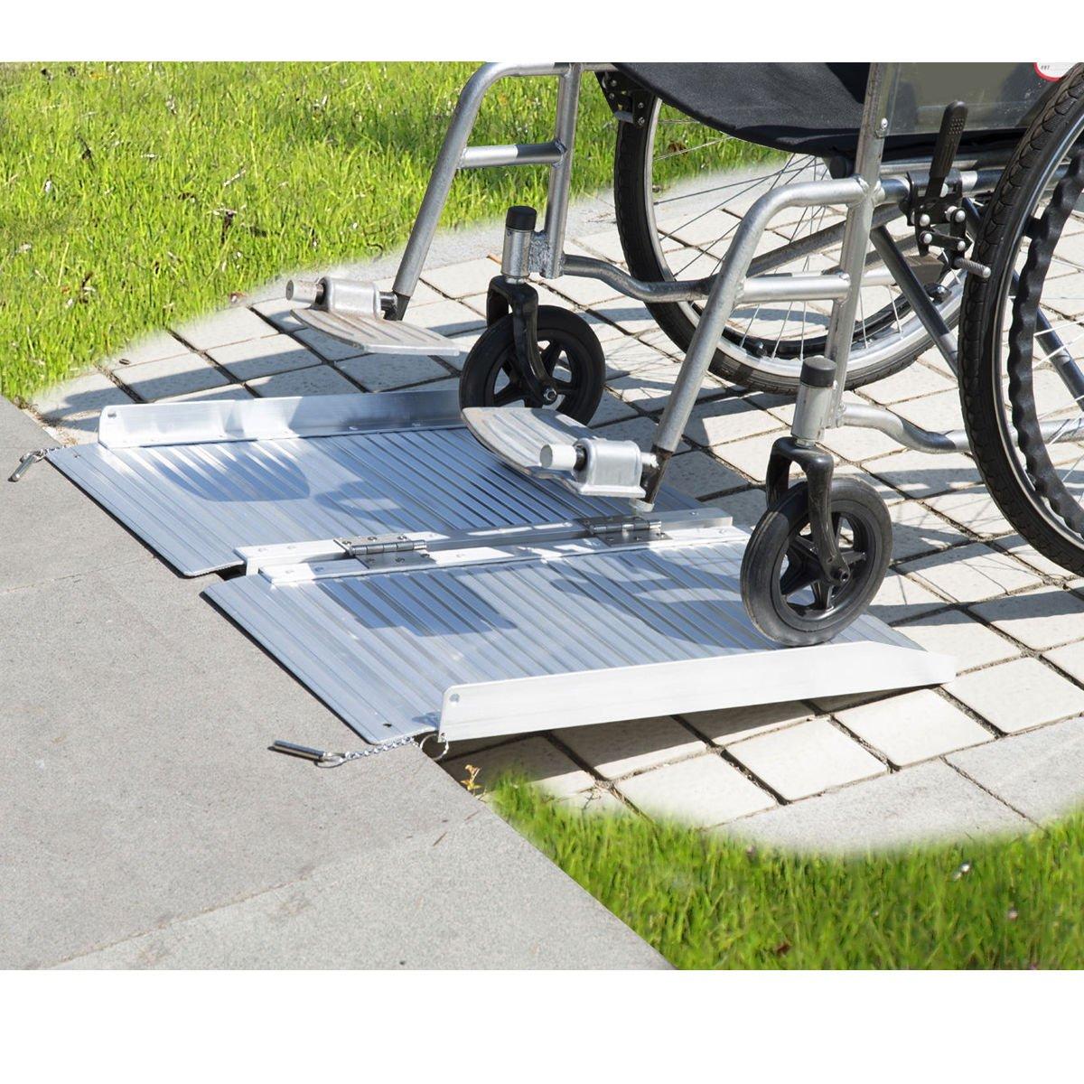2' Aluminum Fold Portable Wheelchair Ramp Mobility Handicap Suitcase Threshold w/Handle