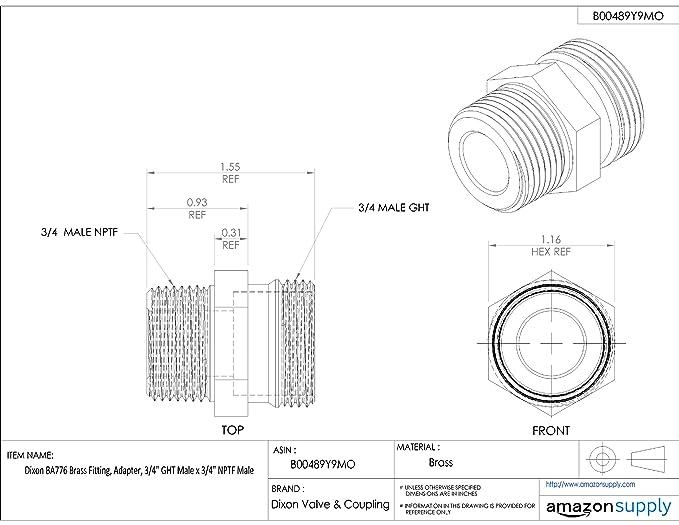 Dixon Ba74 Brass Fitting Adapter 34 Ght Male X 12 Nptf Male
