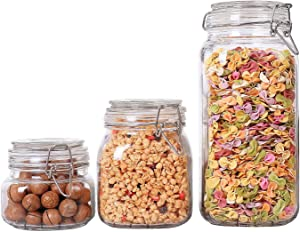 ComSaf Airtight Glass Canister Set of 3 with Lids 17/34/78oz Food Storage Jar - Storage Container with Clear Preserving Seal Wire Clip Fastening for Kitchen Canning Cereal,Pasta,Sugar,Beans,Spice