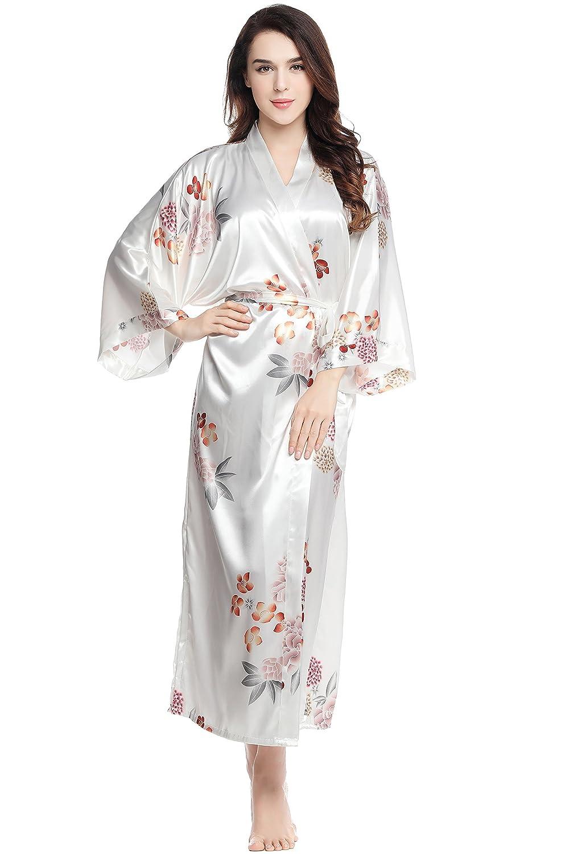 BABEYOND Womens Kimono Robe Long Floral Wedding Robe 53 Long (White)