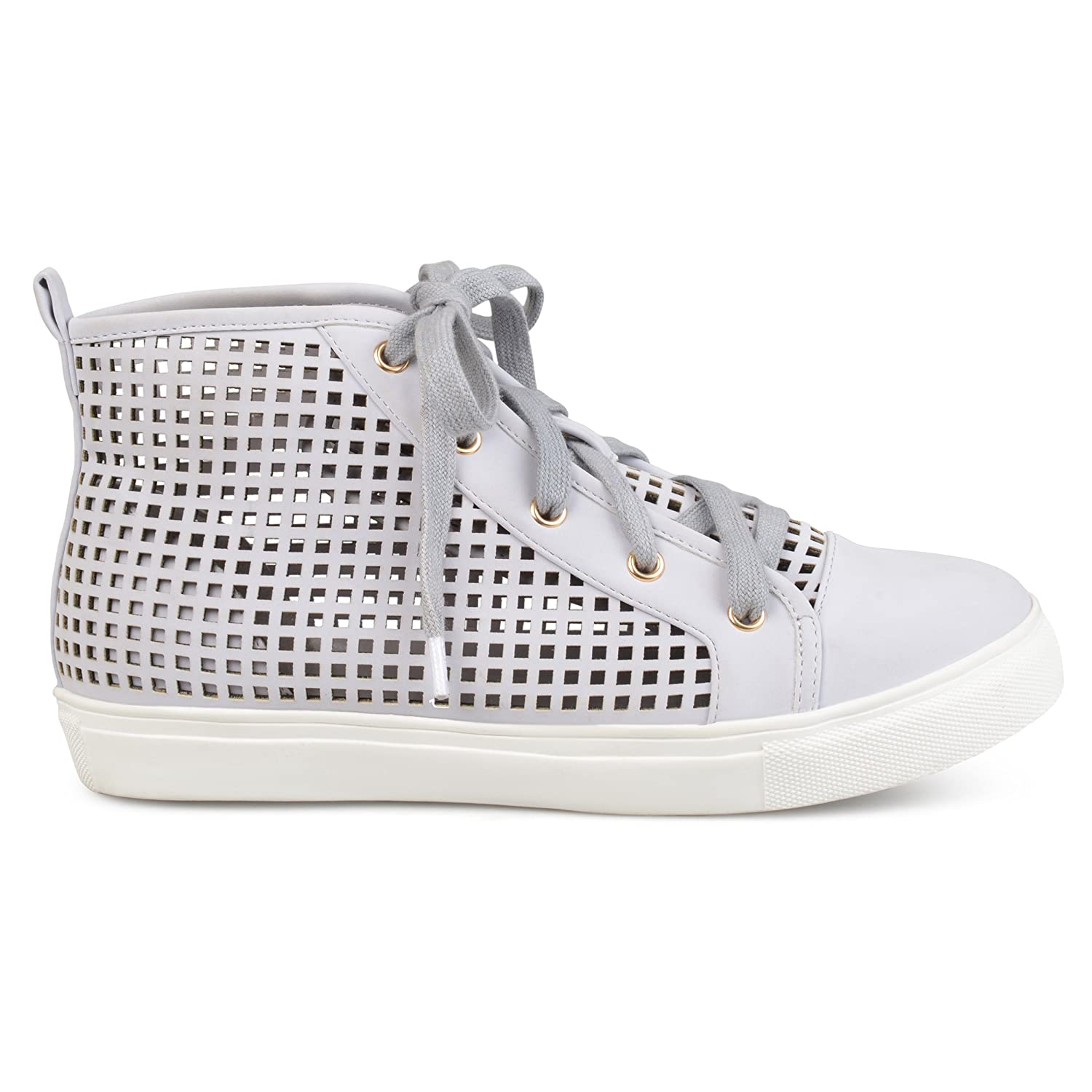 Brinley Co Womens Faux Leather High-Top Lace-up Laser-Cut Sneakers B073RRY9XM 11 B(M) US|Grey