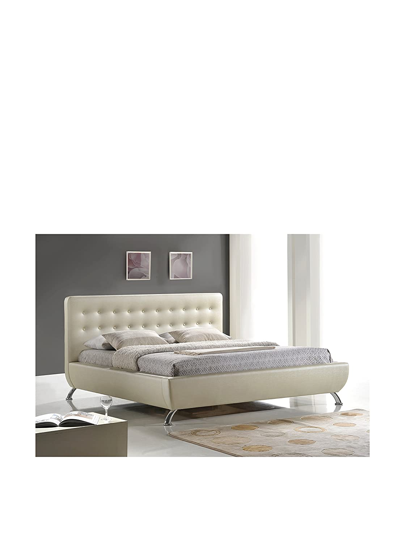 White modern platform bed - Amazon Com Baxton Studio Elizabeth Pearlized Modern Bed With Upholstered Headboard King Almond Kitchen Dining
