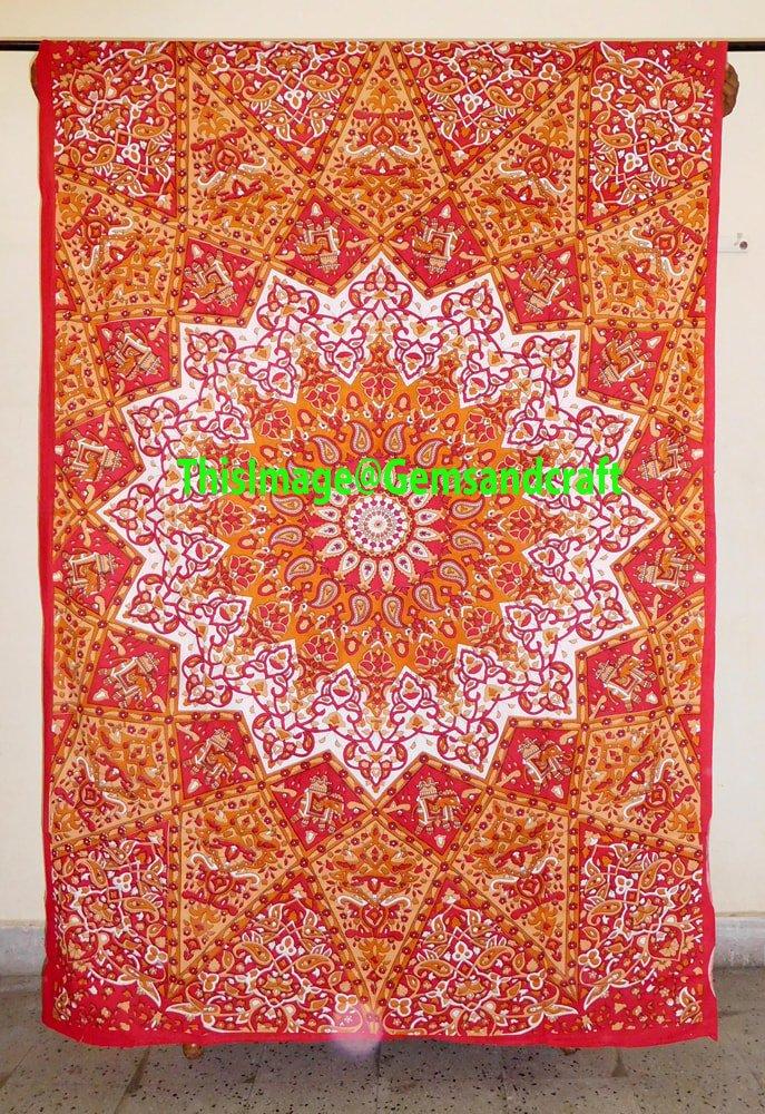 Orange Star Indian Hippie Mandala Psychedelic Tapestry Bedspread Bohemian Boho, Bohemian Wall Hanging, Mandala Twin Size Tapestry, 100% Pure Cotton Wall Hangings By ''Gemsandcraft''