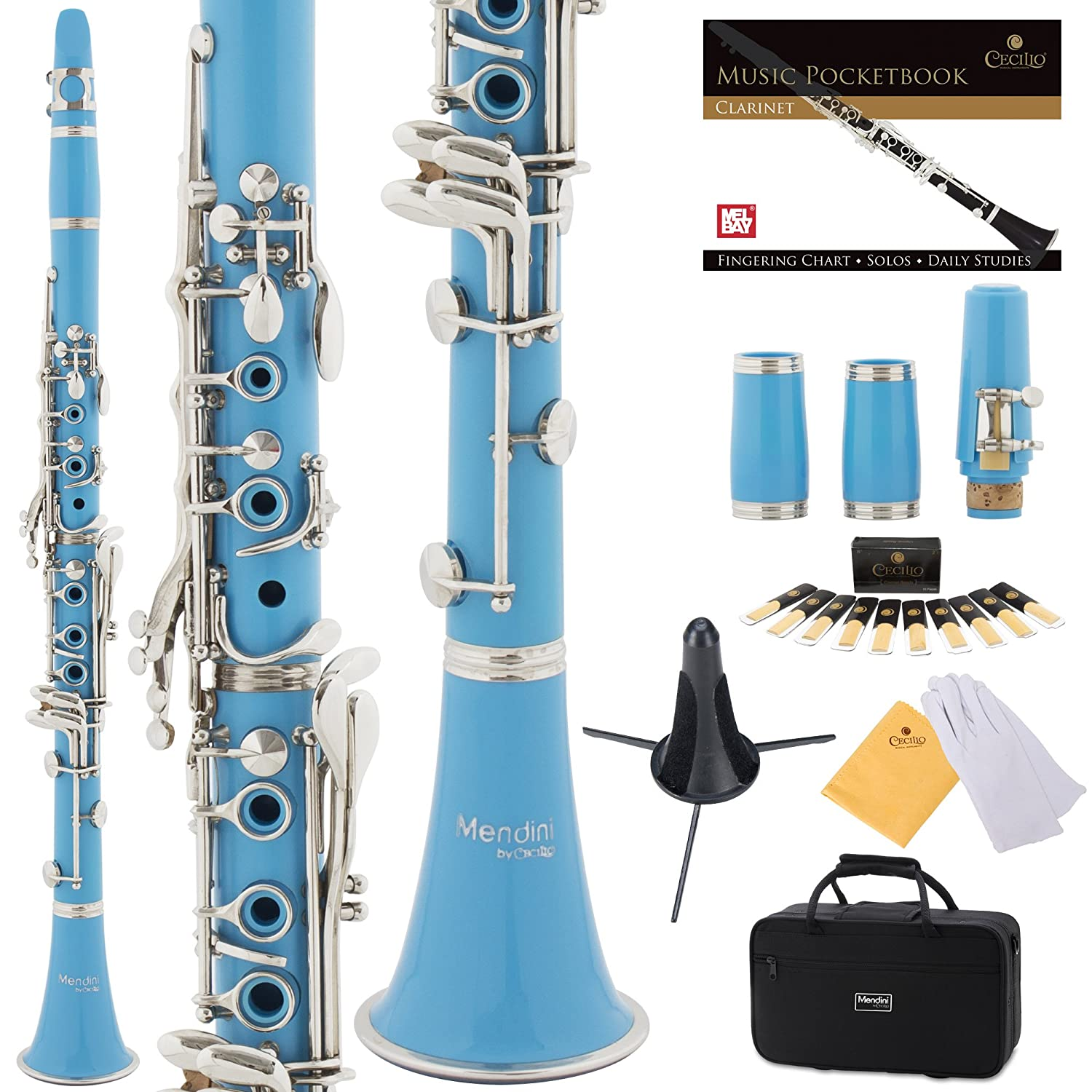 Mendini Yellow ABS B Flat Clarinet with 2 Barrels, Case, Stand, Pocketbook, Mouthpiece, 10 Reeds and More, MCT-2YL+SD+PB Cecilio Musical Instruments