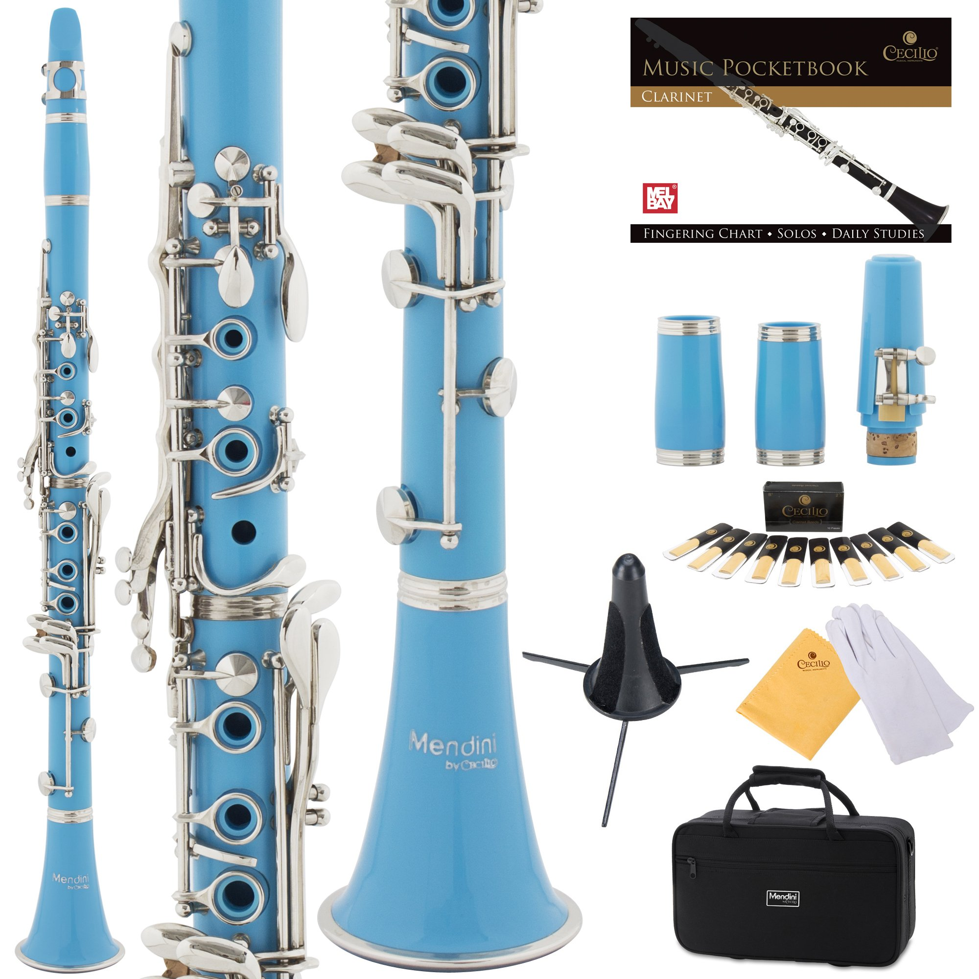 Mendini Sky Blue ABS B Flat Clarinet with 2 Barrels, Case, Stand, Pocketbook, Mouthpiece, 10 Reeds and More, MCT-2SB+SD+PB