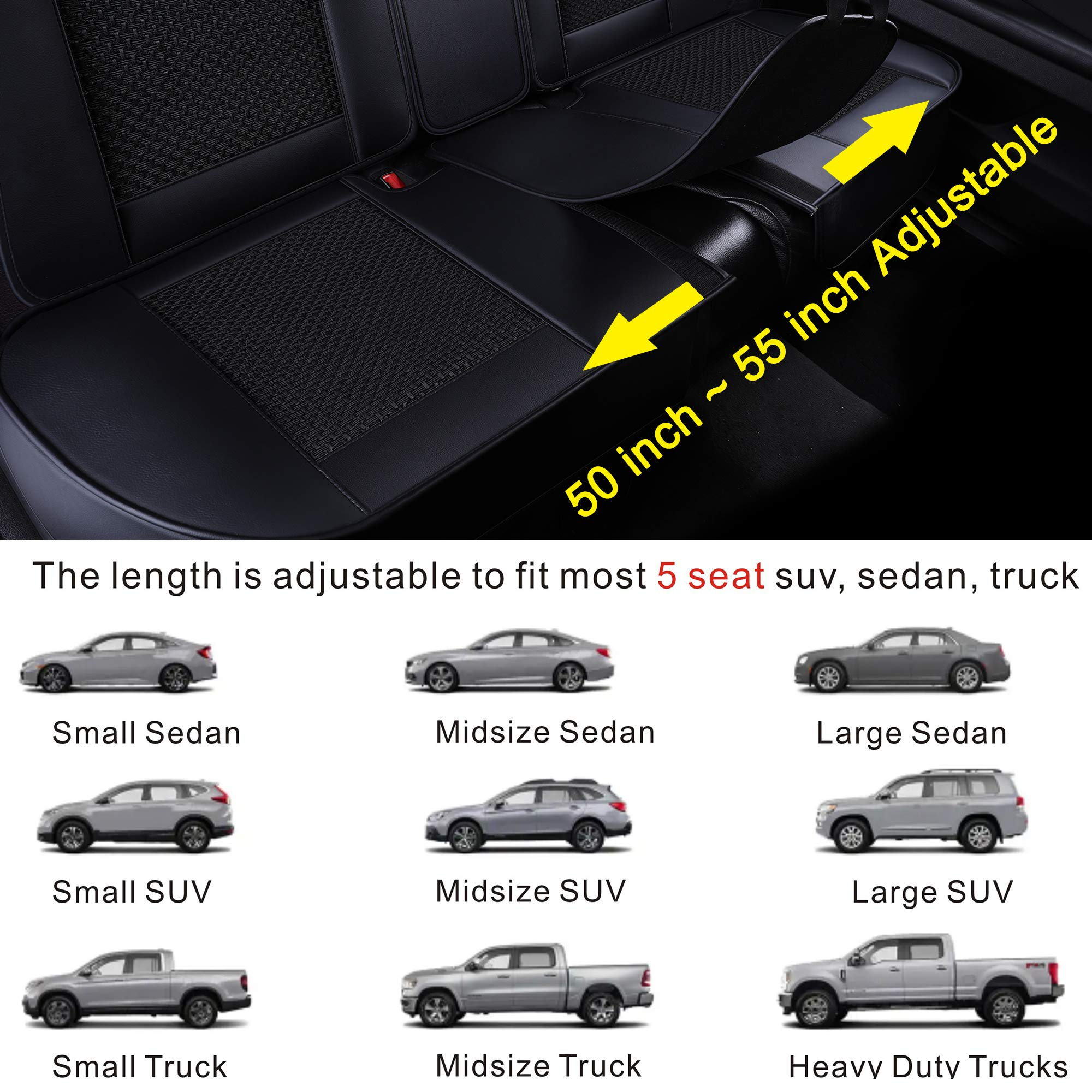 LUCKYMAN CLUB Breathable 5 Car Seat Covers Fit for Most SUV Sedan Truck Nicely Fit for 2018 Chevy Equinox Cruze 2019 Toyota Tacoma TRD PRO Double Cab RAV4 Corolla Camry (Black Full Set) by LUCKYMAN CLUB (Image #6)