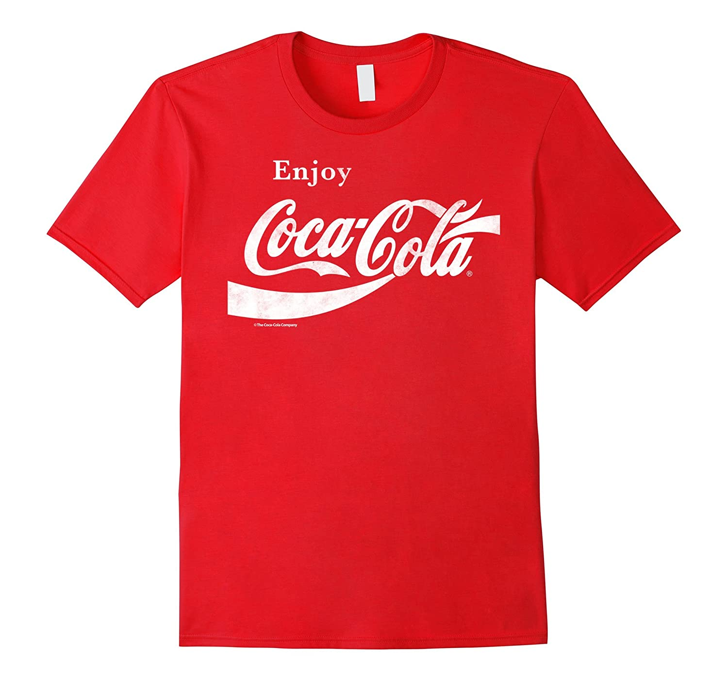 Coca-Cola Retro Vintage Ribbon Enjoy Logo Graphic T-Shirt-T-Shirt