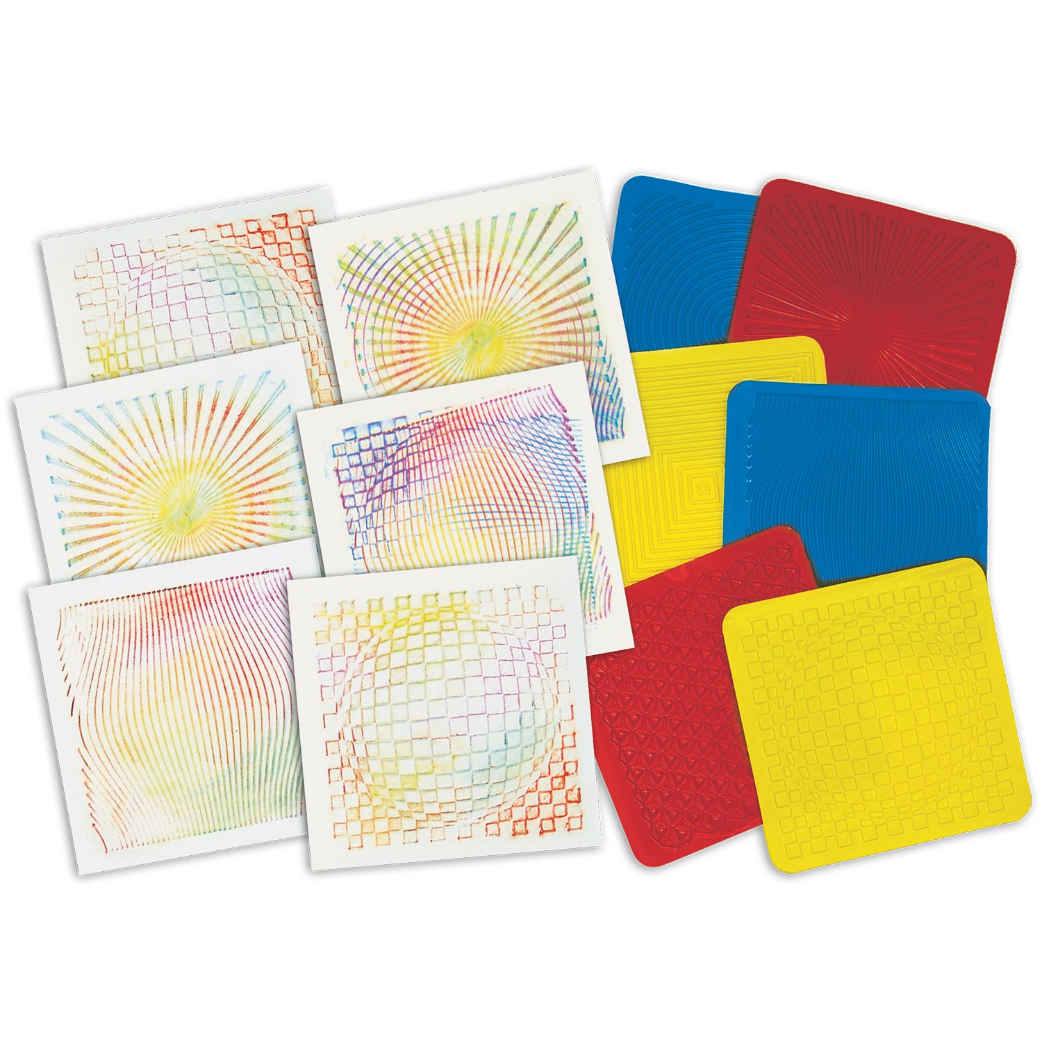 ROYLCO R5841 Optical Illusion 7 by 7-Inch Rubbing Plates, 6-Pack by Roylco