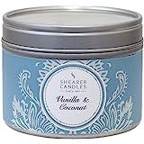 Shearer Candles Bougie dans une boîte en inox Senteur vanille et noix de coco Argenté 4,7 x 6 cm