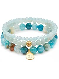 Satya Jewelry Women's Blue Agate and Angelite Gold Om Lotus Stretch Bracelet Set, One Size