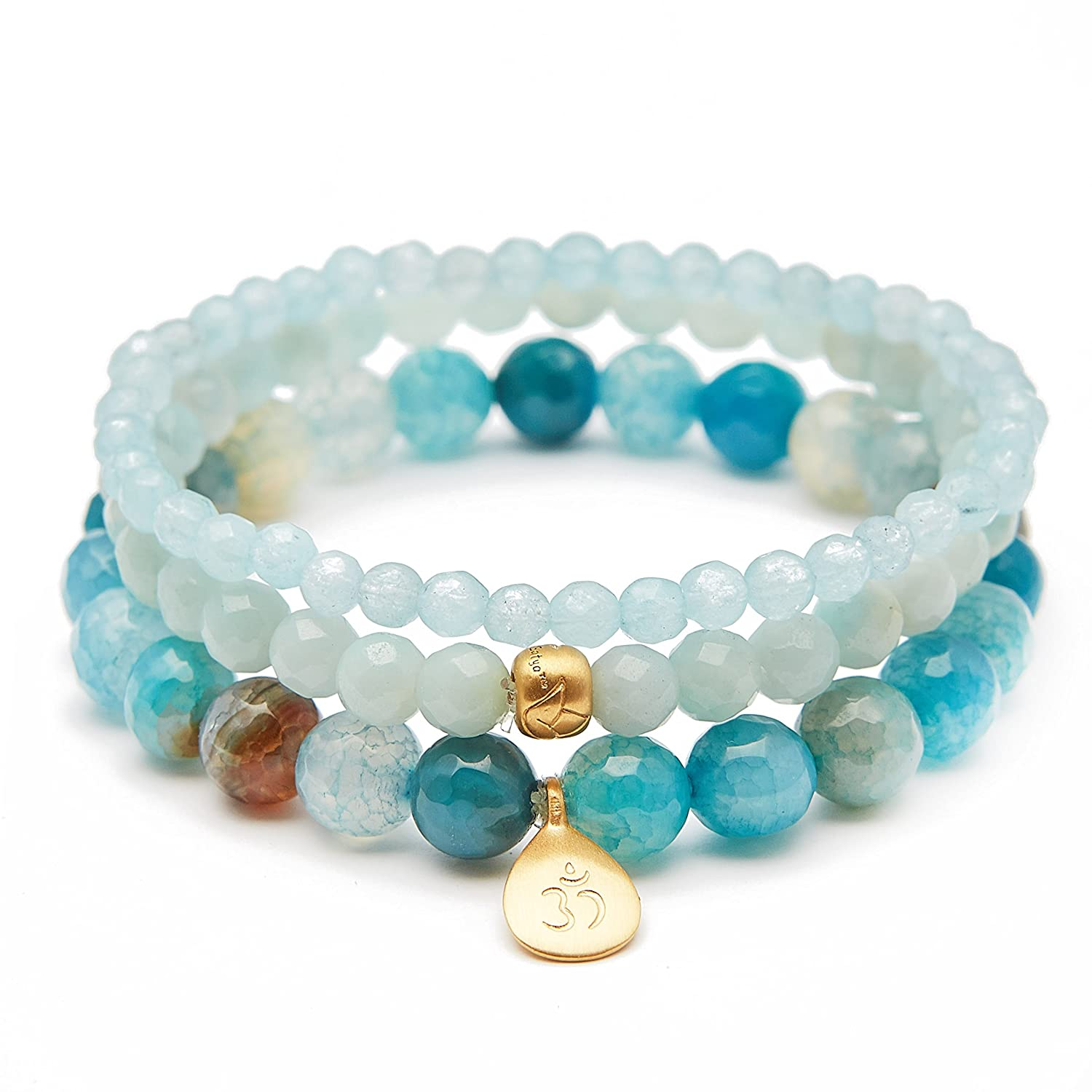 7d07689f9 Satya Jewelry Womens Blue Agate and Angelite Gold Om Lotus Stretch Bracelet  Set, ...
