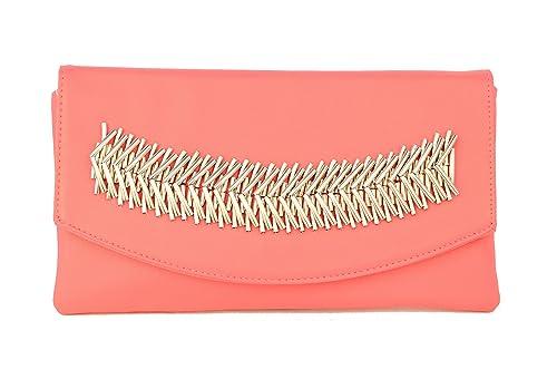 New Destiny Trading - Cartera de mano de poliuretano para mujer rosa fucsia: Amazon.es: Zapatos y complementos