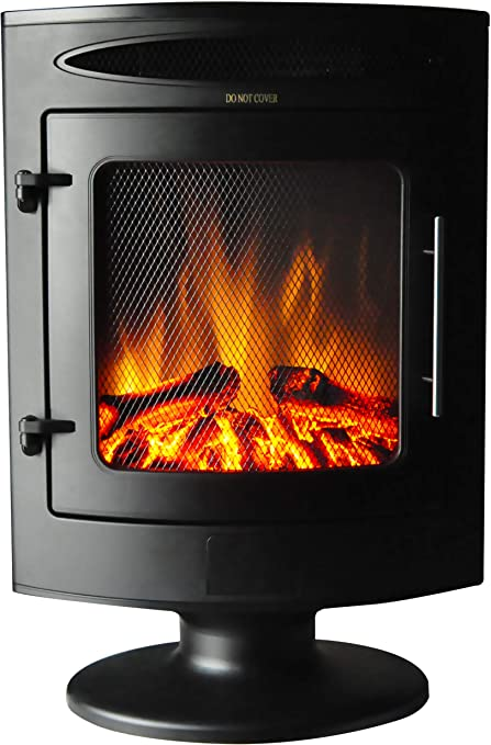 Cambridge Cam20fsef 1blk 1500w Freestanding Electric Fireplace With Log Display Home Kitchen