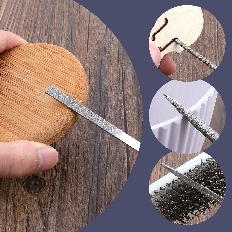 joyer/ía 6 limas de diamante y cepillo de acero para metal herramienta de manualidades con estuche de transporte. Juego de 13 limas de agujas que incluye 6 limas de acero modelo madera bricolaje