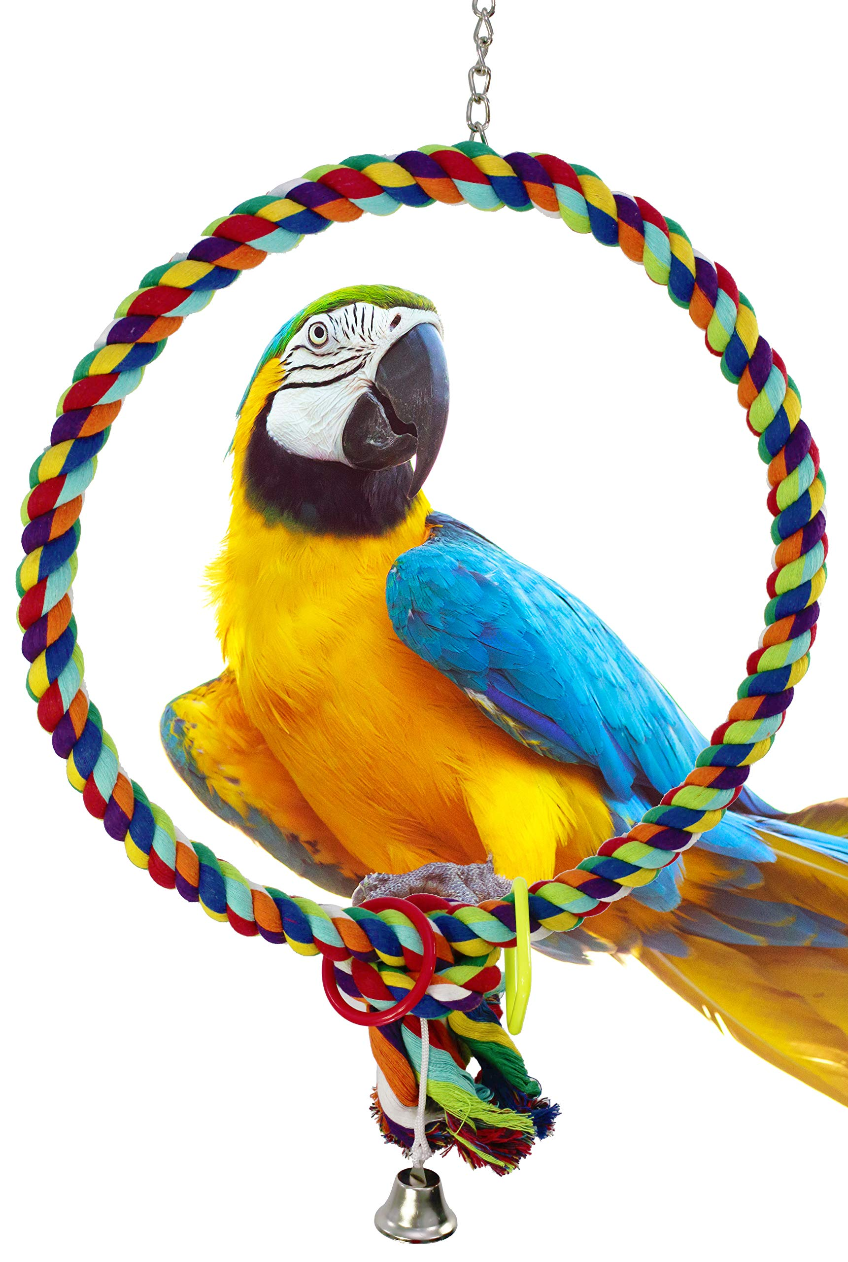 Bonka Bird Toys 1046 Huge 17 INCH Rope Ring Bird Toy Parrot cage Toys Cages Cockatoo Macaw by Bonka Bird Toys