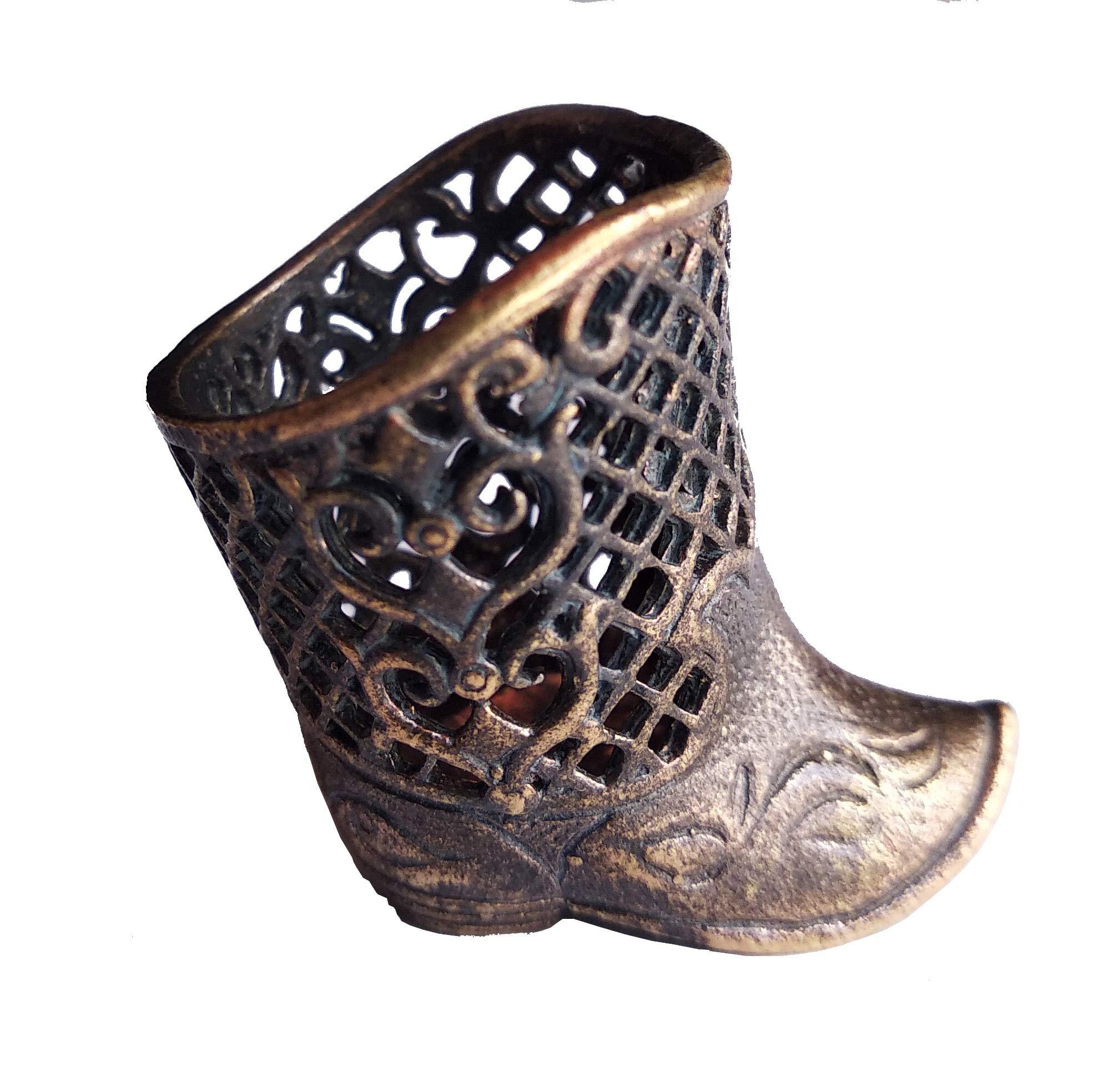 Collectible Thimble Bronze Boots Chinggis Khaan - Souvenir Thimbles in a Burlap Bag by Warm me Doll
