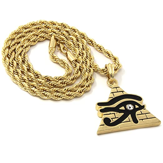Mens 14k gold iced pyramid eye of ra pendant 30 rope chain hip hop mens 14k gold iced pyramid eye of ra pendant 30quot rope chain hip hop aloadofball Images