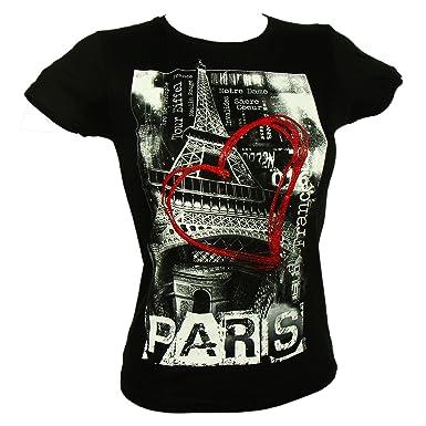 Souvenirs de France - T-Shirt Femme  Coeur de Paris  - Noir  Amazon ... bd1652fe5989