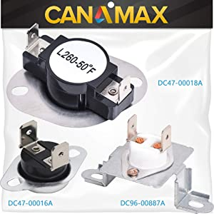 DC96-00887A & DC47-00018A & DC47-00016A Dryer Thermal Fuse Thermostat COMPLETE Kit Premium Replacement by Canamax - Compatible with Samsung Dryers