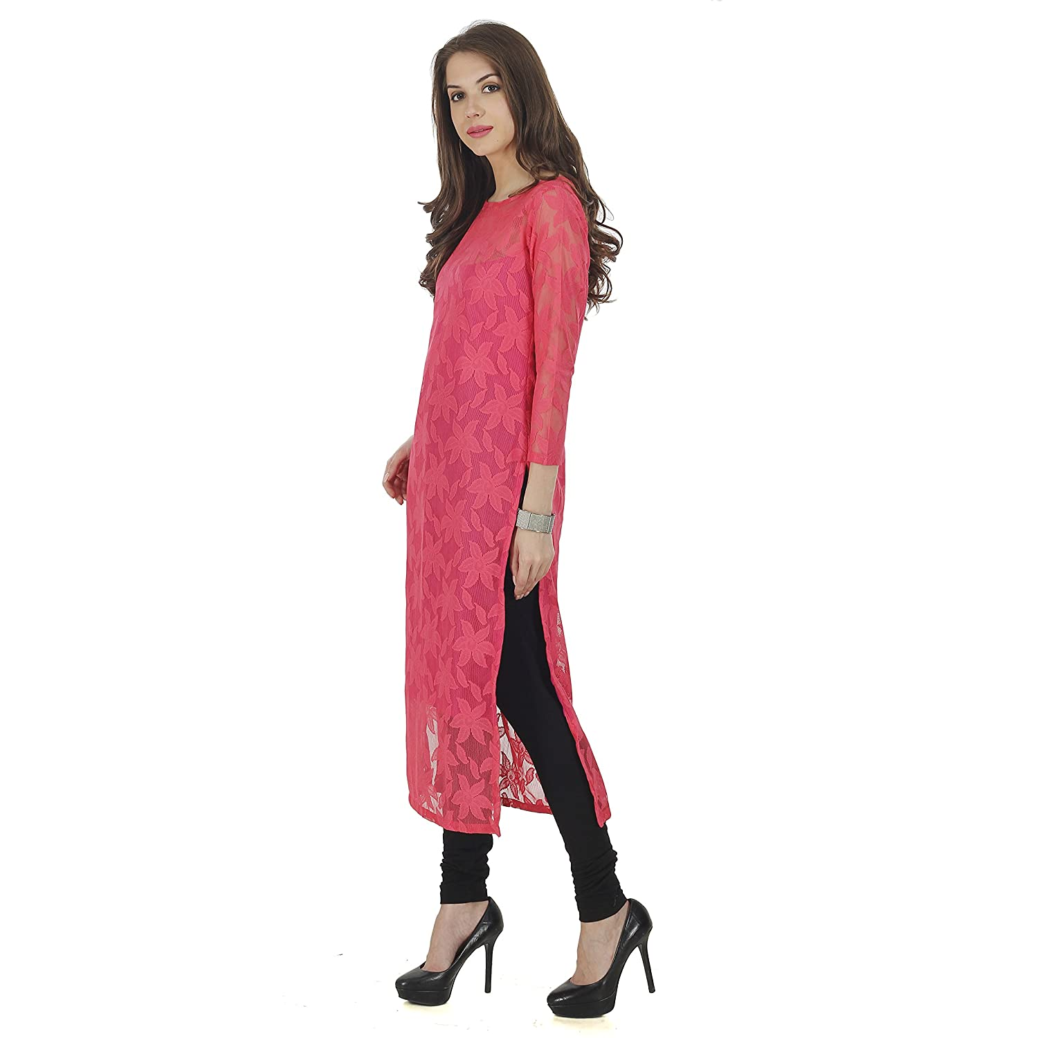 b1ddde4695d0 The Bebo Pink Pure Nylon Net Straight Elegant Kurti for Womens ...