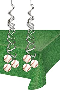 Baseball Party Supplies - Metallic Hanging Baseball Whirls and Green Grass Outfield Table Cover
