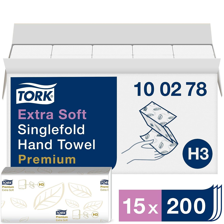 Tork 100278 - Juego de 15 paquetes x 200 toallas de papel de mano entreplegadas extrasuaves, 2 capas, color blanco