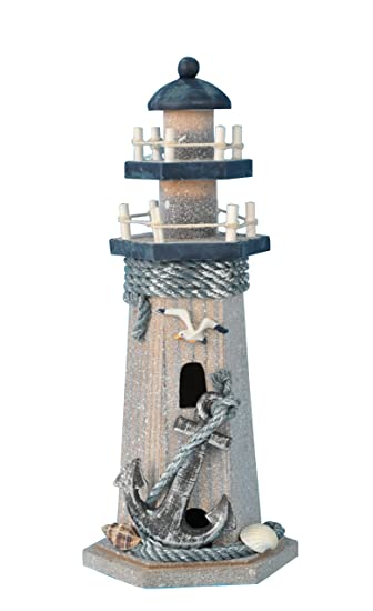 Amazon Com Yk Decor Wooden Lighthouse 10 High Nautical Themed
