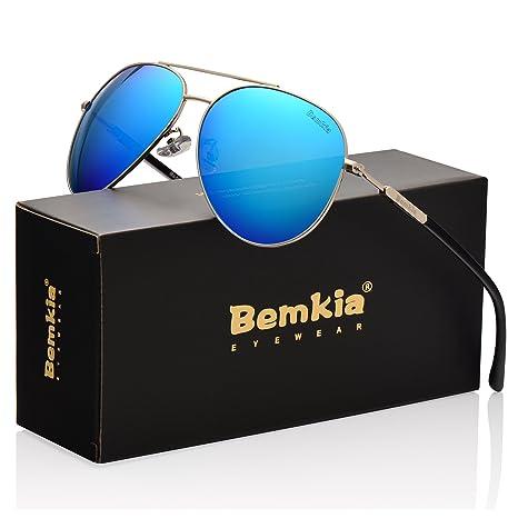 Bemkia Gafas de sol polarizadas Aviator para mujer, 60 mm, marco de metal lento