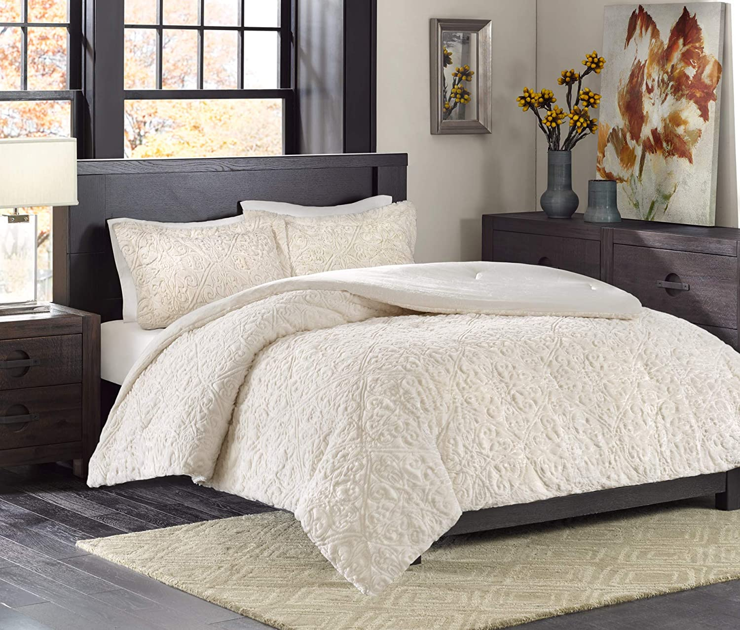 Madison Park Bismarck King Size Bed Comforter Set - Ivory, Embroidered Medallion – 3 Pieces Bedding Sets – Faux Fur Plush Bedroom Comforters