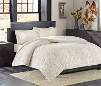 Madison Park Bismarck Full/Queen Size Bed Comforter Set - Ivory,  Embroidered Medallion – 3 Pieces Bedding Sets – Faux Fur Plush Bedroom  Comforters
