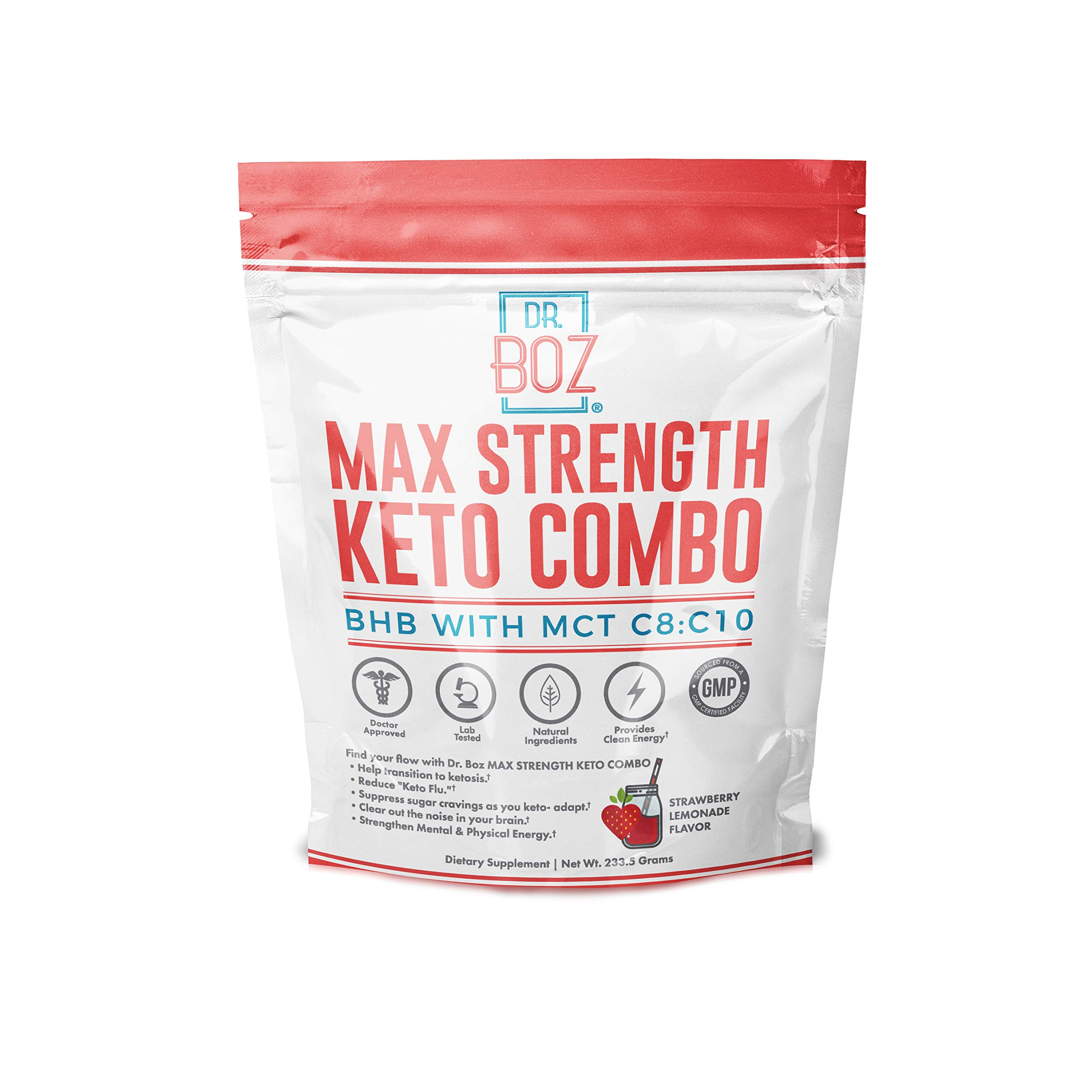 Dr. Boz MCT Oil Powder with BHB [Coconut MCT Oil Powder+ Keto BHB Powder] - Keto Supplement |Keto Shake - MAX Strength Keto BHB & MCT C8:C10 [Strawberry Lemonade 233g Bag] by Dr. Boz