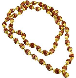 Rudraksha White Hakik 1 Crystal Quartz Necklaces Sphatic Guru Bead Knotted Beads Rosary Agate Japa Mala 8mm 108 Face, Panchmukhi IndianStore4All Certified 5 Mukhi