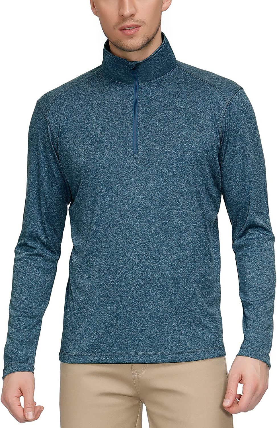 Men's UPF 50+ Sun Protection Long Sleeve Shirts, Quick Dry Performance Zipper T-Shirt Active Top Athletic Running Cycling Gym