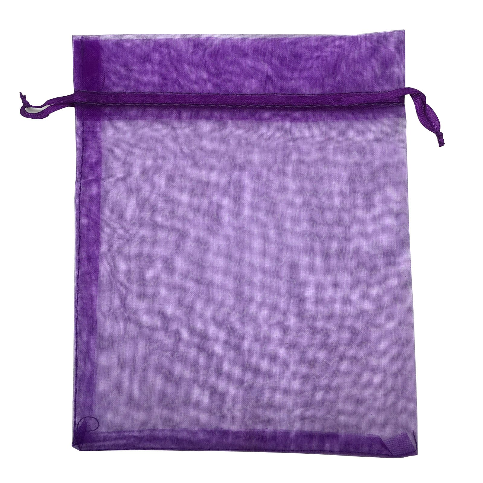 Sosam 100PCS 6x9 Inches Organza Drawstring Pouches Jewelry Party Wedding Favor Gift Bags (6x9'', Purple)