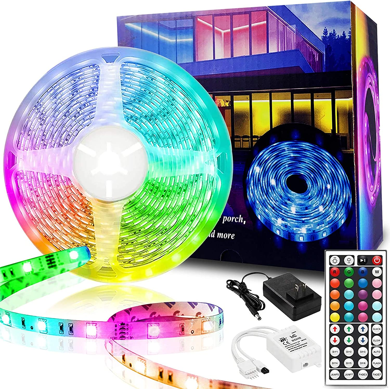 KUshopfast LED Strip Lights, 16.4ft 5m RGB Color Changing Rope Light Strip with Remote and 12V Power Supply Flexible 5050 LED Tape Lights Kit for Bedroom, Home, Kitchen, Room, Decor, DIY Decoration