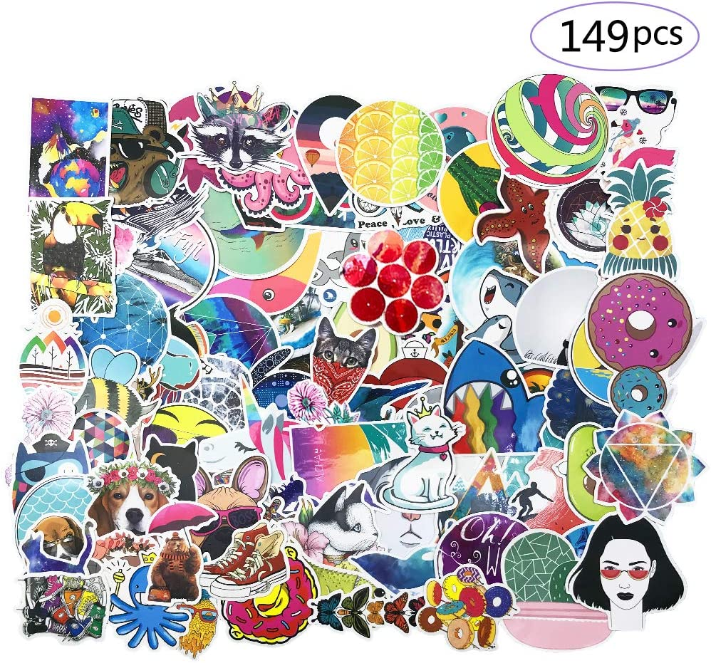 149 pcs Cute Stickers for Water Bottles |Waterproof,Aesthetic,Trendy, Vinyl Decal Stickers for Teens,Girls | Perfect for Waterbottle,Laptop,Phone,Travel