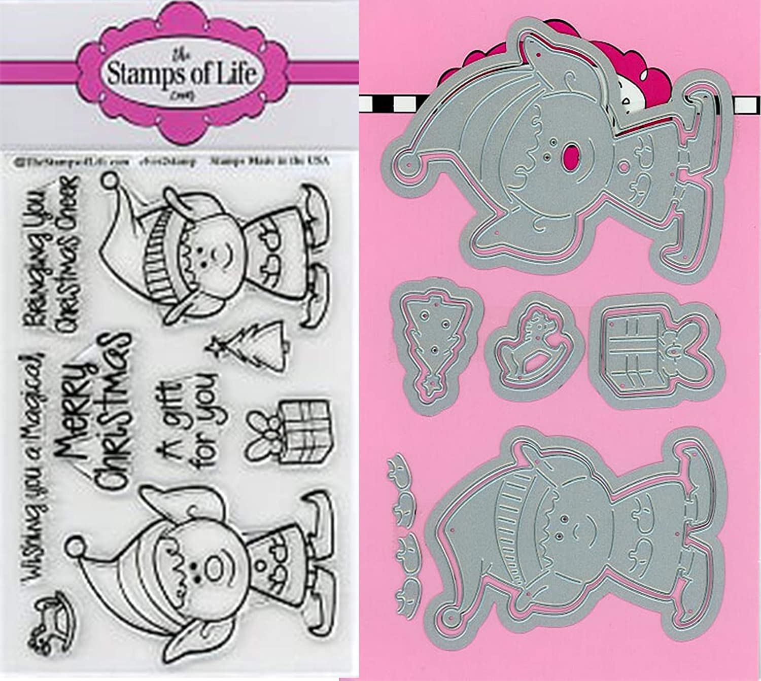 Elves Christmas Stamps and Dies for Scrapbooking and Card-Making by The Stamps of Life - Elf-2-Stamp and Die