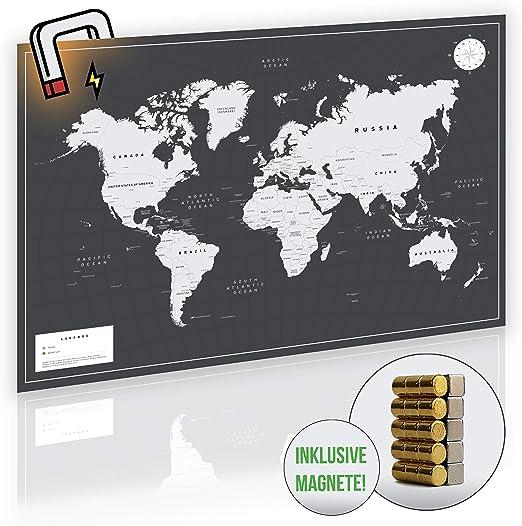Vacentures Magnetische Weltkarte Xl Mit 2x 15 Magnetischen Pins