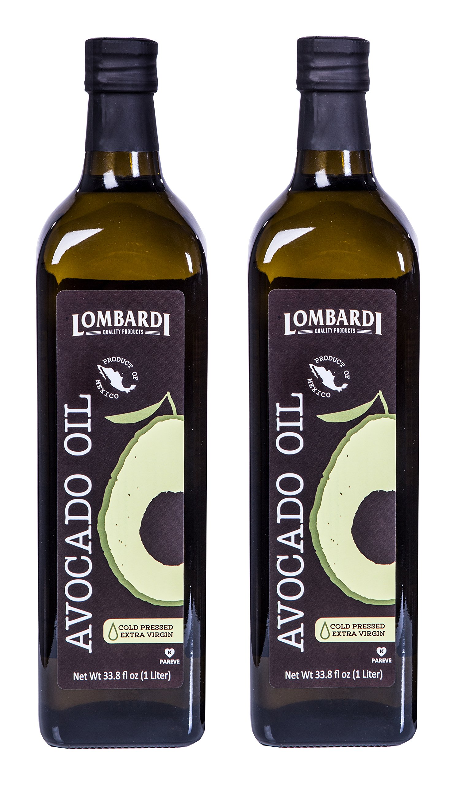 2 Pack Lombardi Extra Virgin Avocado Oil 67.6 fl oz (2 x 33.8 fl oz) Premium Quality 2 Liters (2 x 1 Liter) Kosher Non-GMO Product of Mexico Cold Pressed for Cooking, Backing, Salad Dressing by Lombardi