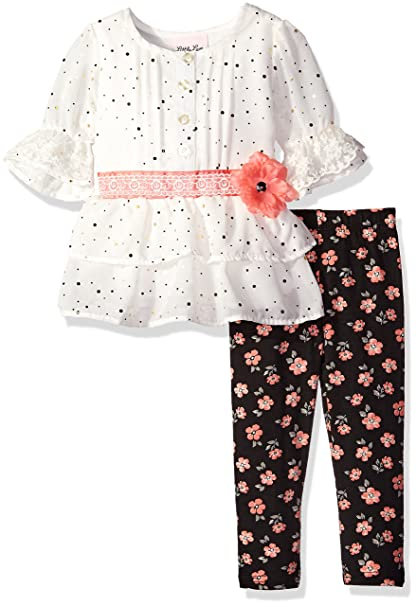 01b818228803 Amazon.com  Little Lass Baby Girls  2 Piece Disco Dot Top and Floral ...