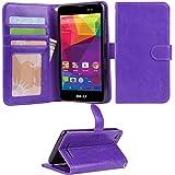 BLU Advance 5.0 Case, Arae [Wrist Strap] Flip Folio [Kickstand Feature] PU leather wallet case with ID&Credit Card Pockets For BLU Advance 5.0 (Purple)