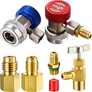 Mudder 7 Pieces Adjustable R134A Adapter Fitting with Quick Coupler High Low A/C 1/4 SAE HVAC, Refrigerant Dispenser Valve, 6014 and 6015 R134A Brass Tank/Vacuum Pump Adapter to R12 Fitting Adapter