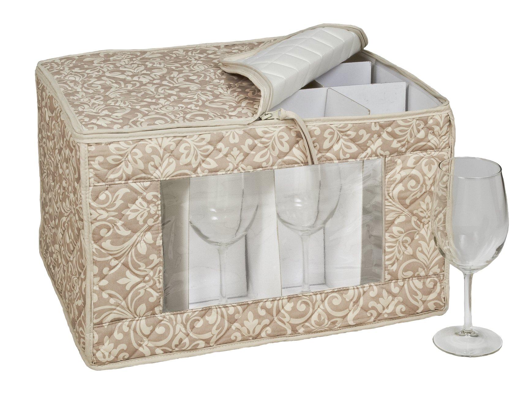 Homewear HUDSON DAMASK Tan Goblet Stemware Storage for 12 Glasses, 13 by 16.5 by 10.5-Inch