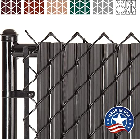 Amazon Com Solitube Slat Privacy Inserts For Chain Link Fence Double Wall Vertical Bottom Locking Slats With Wings For 6 Fence Height Black Garden Outdoor