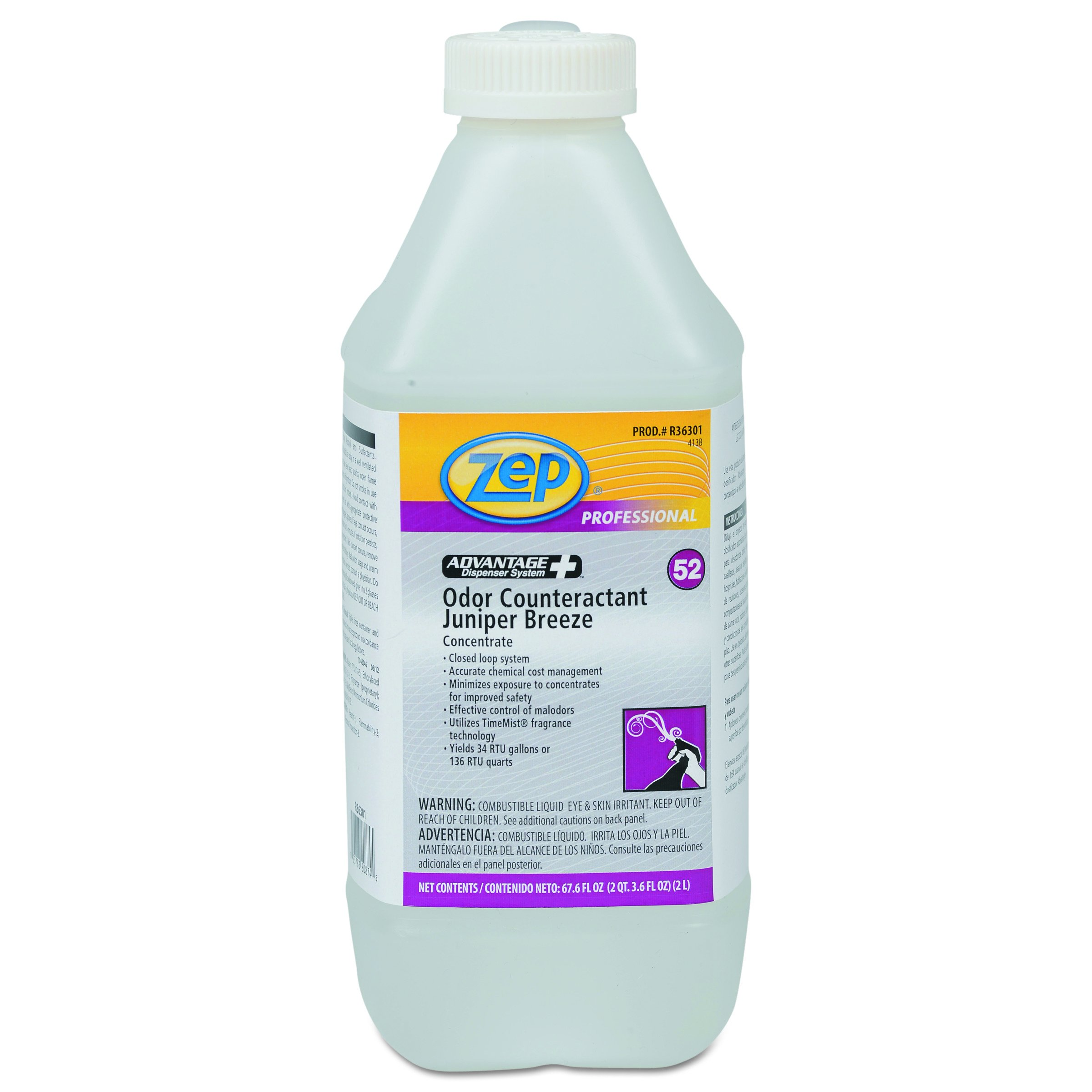 Zep Professional R36301CT Concentrated Odor Counteractant, Juniper Breeze, 67.6 oz Bottle (Case of 4)