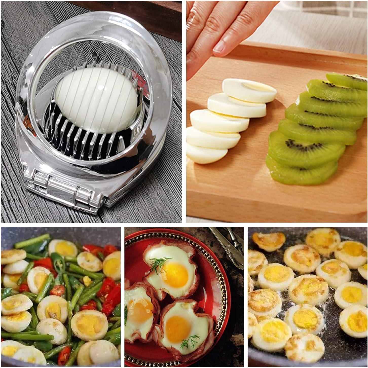 YM26 Eierschneider Edelstahl Sp/ülmaschinenfest,Mozzarellaschneider mit Stabiler Zinklegierungshalterung zum Schneiden von Eiern,Salaten,Sandwiches
