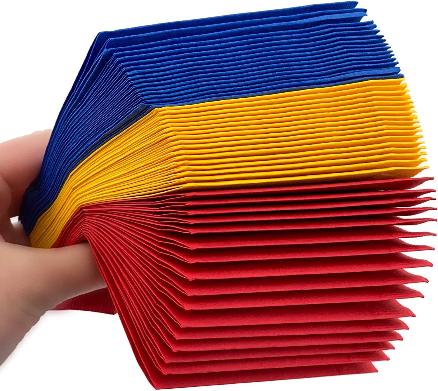 Superhero Napkins - 50 Ct Beverage Red Yellow Blue Color Paint Party