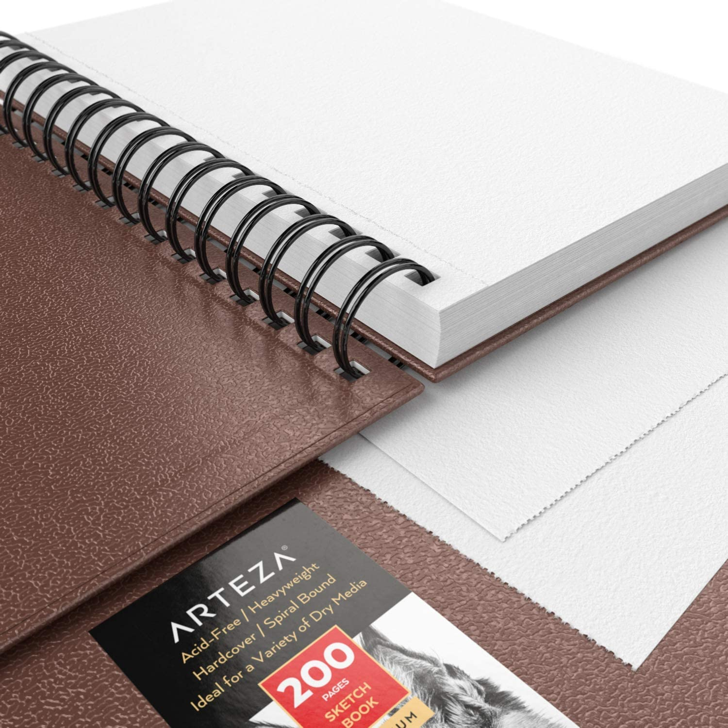 300 Sheets Total 3-Pack Brown Drawing Pads Hardcover Sketchbook Charcoal Crayons /& Other Dry Media Spiral-Bound 68 lb 100 GSM Use with Pencils Pens 5.5x8.5-inch Arteza Sketch Book