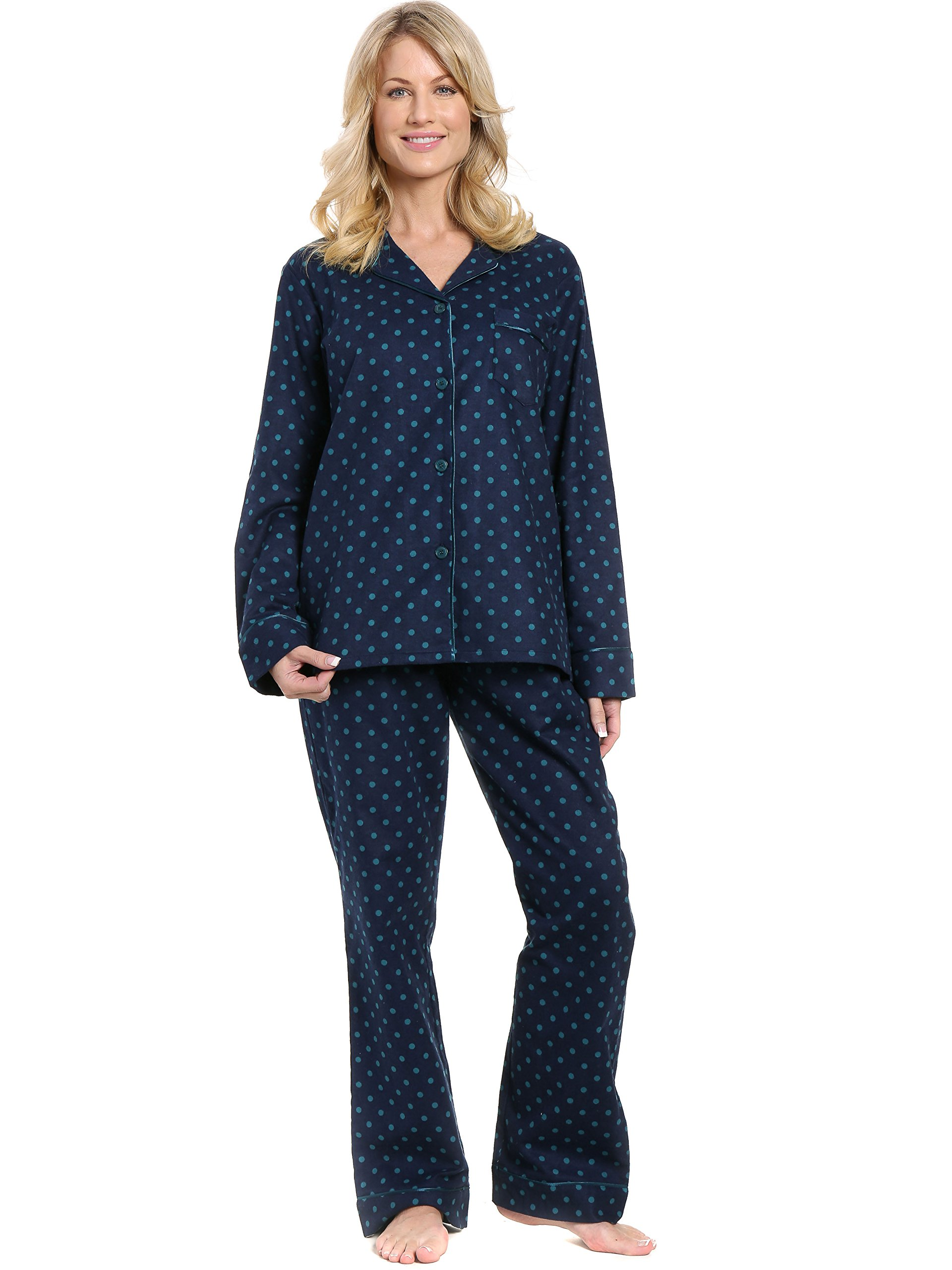 Women's Cotton Flannel Pajama Sleepwear Set - Dots Diva Blue - Large